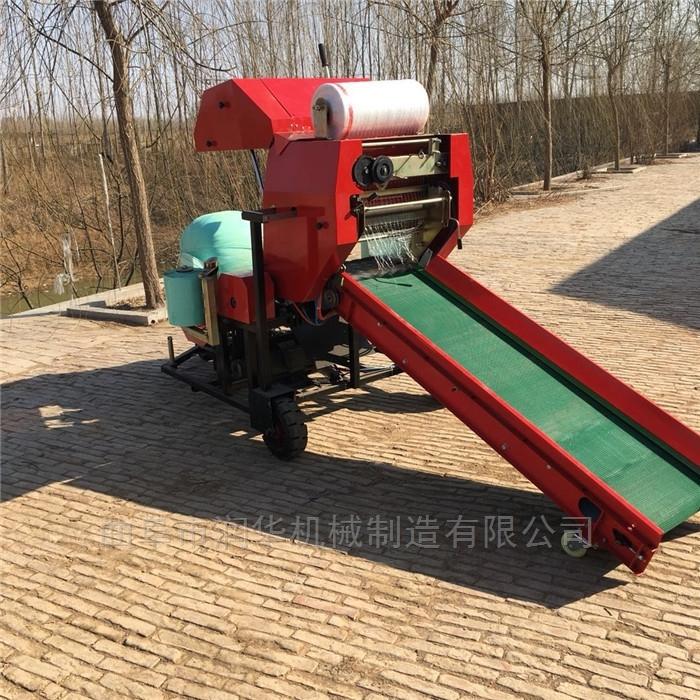 青储秸秆饲料打捆机 农作物秸秆包膜机
