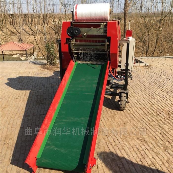 柴油机动力饲料包膜机 牧草保存青储打包机