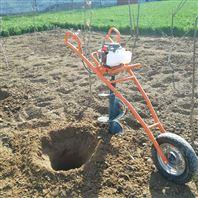 汽油手推单轮行走式挖坑机